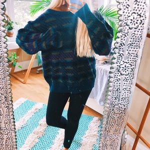 Teal Retro Chunky Oversized Sweater 🍭